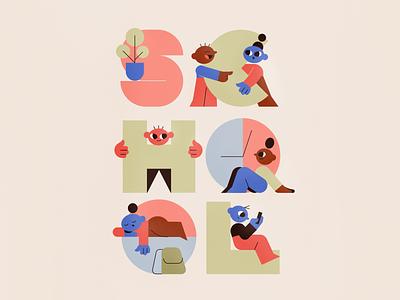 School children school people character vector texture characters shape flat 2d illustration