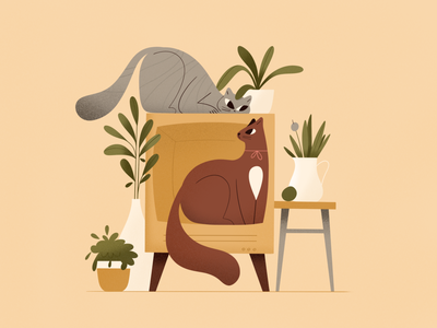 Two cats plants cats cat room explainer procreate character vector texture shape flat 2d illustration