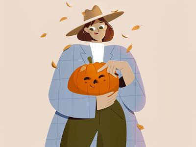Best friends autumn leaves pumpkin procreate character girl vector texture characters shape flat 2d illustration