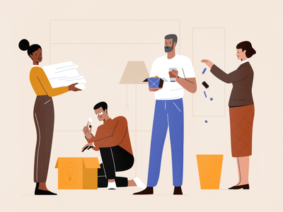 Environment teamwork workspace work ecology eco team office people procreate character girl vector texture characters shape flat 2d illustration