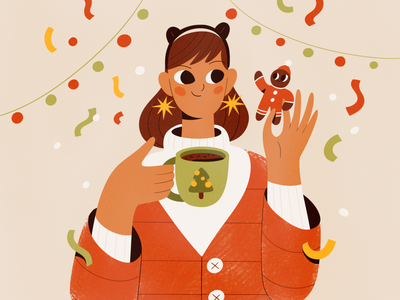 Coffee break holiday food eat cookie people procreate character vector texture characters shape flat 2d illustration