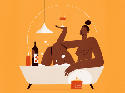 Enjoy Yourself holidays relax romantic wine bath people procreate character girl vector texture characters shape flat 2d illustration