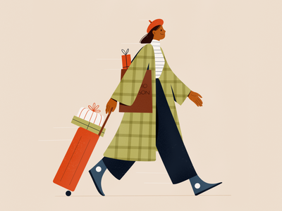 Welcome Home travelling travel home people procreate character girl vector texture characters shape flat 2d illustration