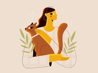 My dear cat and I pet animals dtiys plants cat character procreate girl vector texture characters shape flat 2d illustration