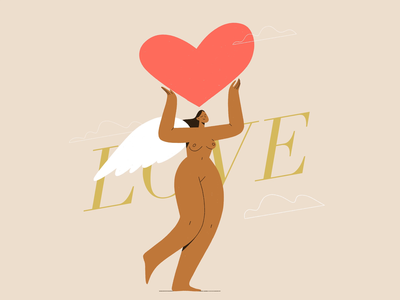Love bodypositive motion design motion cartoon framebyframe animation procreate character girl vector texture characters shape flat 2d illustration