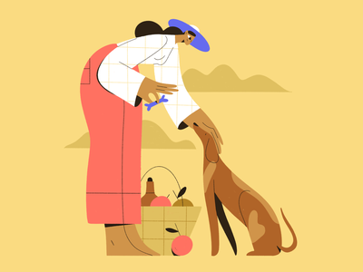 Picnic summer landscape nature picnic dog people procreate character girl vector texture characters shape flat 2d illustration