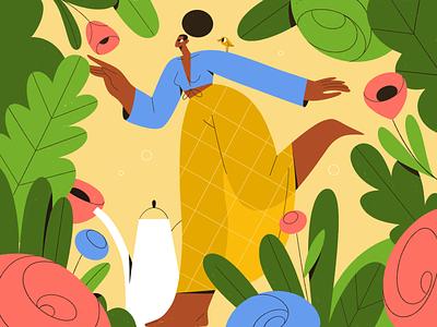 Garden characterdesign people hobby bird flower plant garden girl vector texture characters shape flat 2d illustration