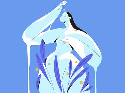 Rain flowers plant nature drop rain people character girl vector texture characters shape flat 2d illustration