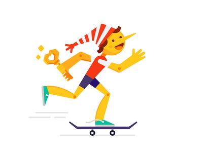 Golden Key fairy tale child character skateboard key gold vector pinocchio boy illustration flat