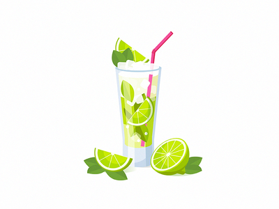Mojito vector tasty smoothie mojito illustration icon party glass food drink cocktail 2d