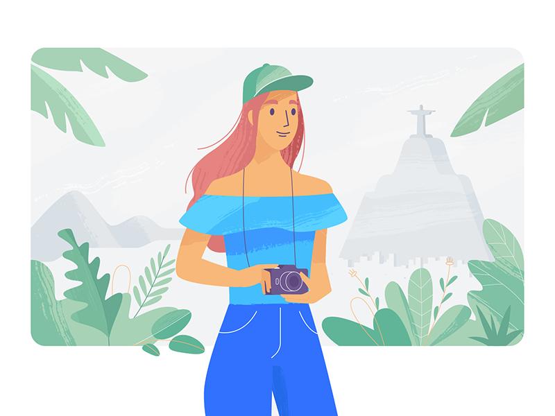 Please.com app ui design nature explainer girl texture characters shape flat vector 2d illustration