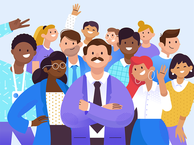 Big Boss and Co people photo explainer room branding man app ui design boy girl character texture characters shape flat vector 2d illustration