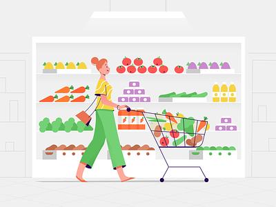 Supermarket shop vegetables fruit supermarket food girl character explainer texture characters shape flat vector 2d illustration