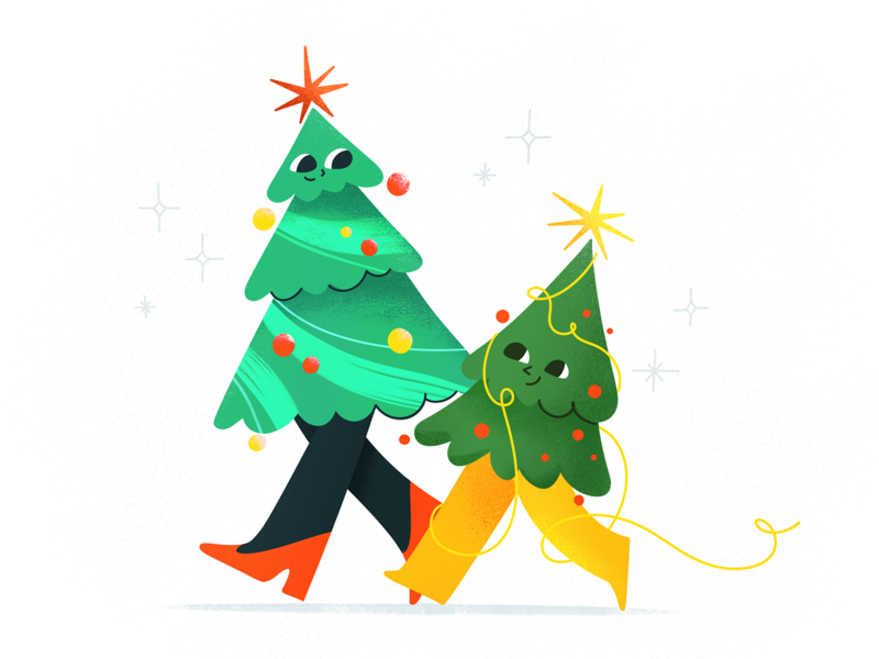 Christmas is coming procreate celebrate party christmas tree tree christmas design texture characters shape flat 2d illustration