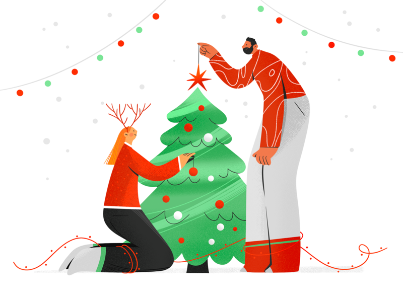 Merry Christmas! chart christmas tree merry xmas christmas boy room character girl texture characters shape flat 2d illustration
