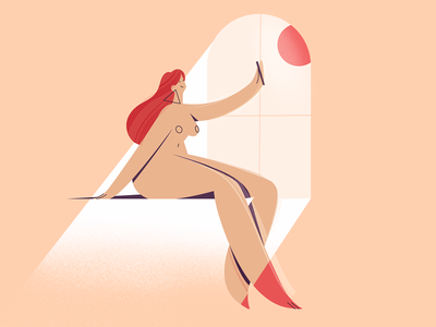 Selfie geometry naked body procreate art procreate design room girl texture characters shape vector flat 2d illustration