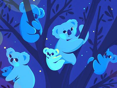 Koala's family koalas tree night procreate nature animals australia koala design texture characters flat 2d illustration