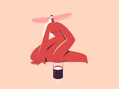 Lake procreate lake naked girl texture characters shape vector flat 2d illustration