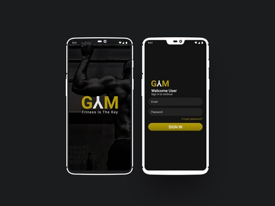 Fitness app login page