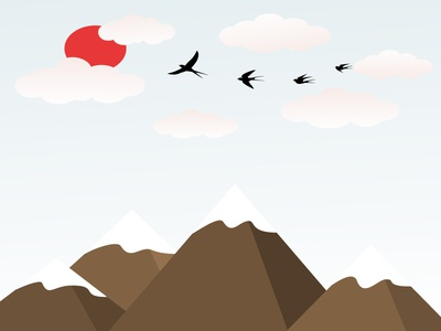 Birds In The Mountains A Bird Flying In The Clouds Vector Illust