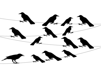 A Flock Of Crows On A Wire Vector Illustration