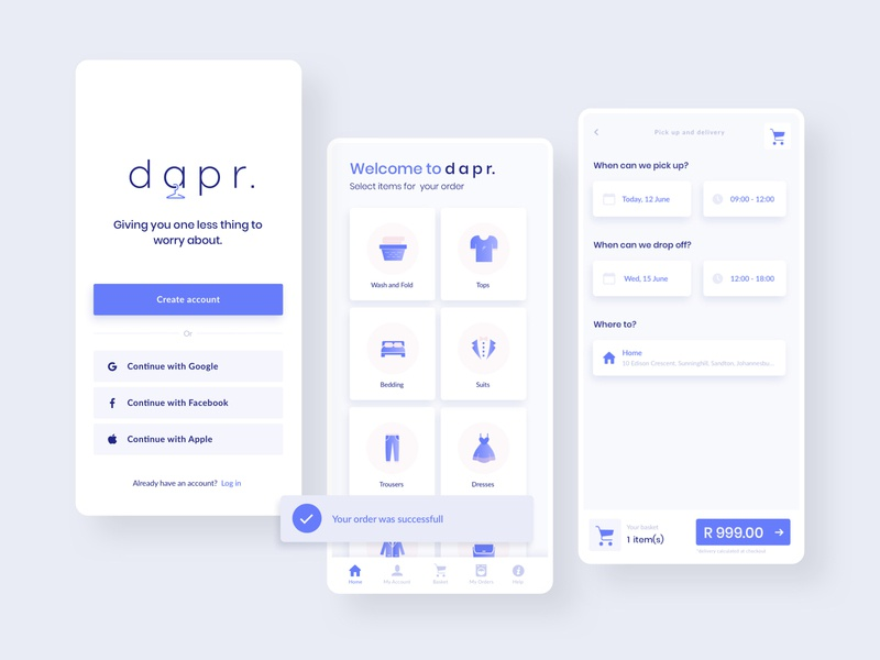Dapr. Mobile Laundry app app design uxdesign flat design logo icons time picker date picker home screen ui kit registration account creations user interface laundry uiux mobile app android ios native app