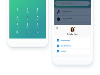 Popover detail & keypad keypad banking ux ui blue green payment android nigeria login fintech social