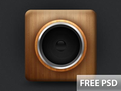 Speaker + PSD speaker photoshop wood psd