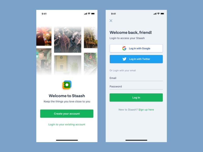 Staash Login green social signup login app iphone