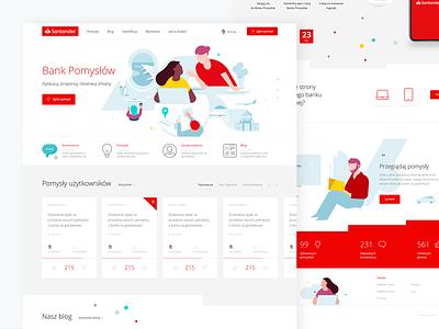 Santander Bank Polska illustration art red uidesign ui ux platform ideas santander website minimal flat desktop design homepage banking illustration bank