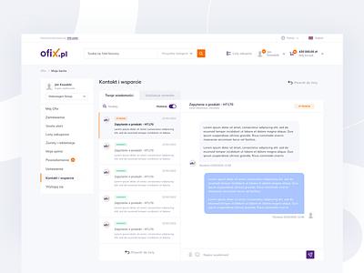 Ofix - Messages account settings inbox support dashboard design send chat message dashboad shop account ecommerce platform minimal design ux ui