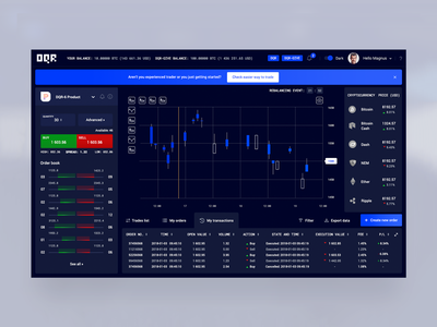 DQR Dashboard tokens my account dashboad trading bitcoin crypto exchange cryptocurrency crypto wallet account platform minimal design ux ui