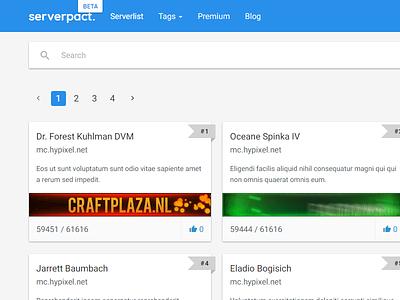 ServerPact Beta servers minecraft html css flexbox webdesign