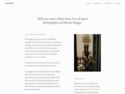Elena Bazu New Site about typo web portfolio minimal