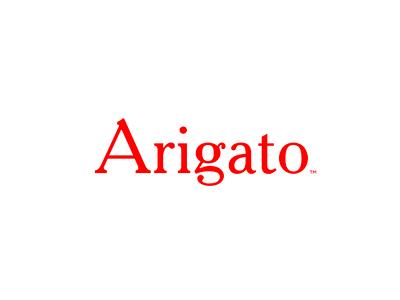 Arigato red typo logo minimal