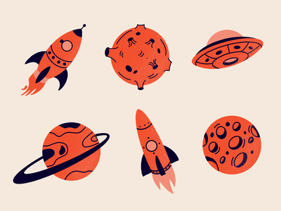Spot Illustrations Space photoshop procreate asteroid rocket planet ufo space spot illustration