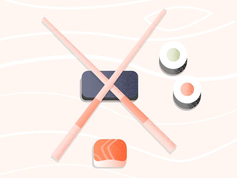 36 days of type X sushi chop sticks illustration design letter challenge 36daysoftype 36days