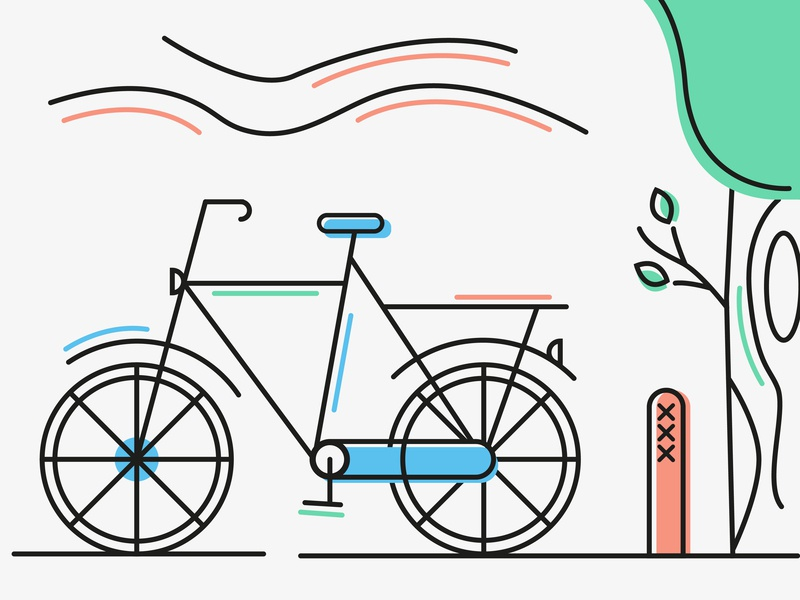 A'dam bicycle amsterdam vector lineart bike illustration