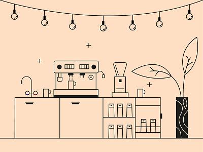 Coffee Bar Illustration adobe illustrator vector graphic line art minimal illustration bar coffe