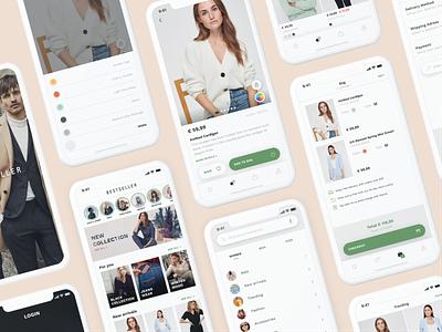 Bestseller App scandinavian figma web branding modern minimal clean ios mobile fashion app clothing clothes fashion e-comerce ecommerce app ecommerce design ux ui app