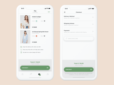 Bestsellet App - Bag & Checkout purchase fashion clothing brand bag checkout app ecommerce android ios mobile clean ux ui design
