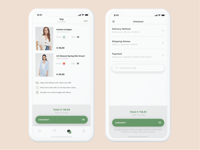 Bestseller App - Bag & Checkout purchase fashion clothing brand bag checkout app ecommerce android ios mobile clean ux ui design