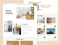 Home Staging logo landing house mobile branding clean interior decoration staging home website desktop ux ui web design