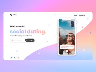 Replay website design replay social dating color app website landing mobile web branding clean ux ui design