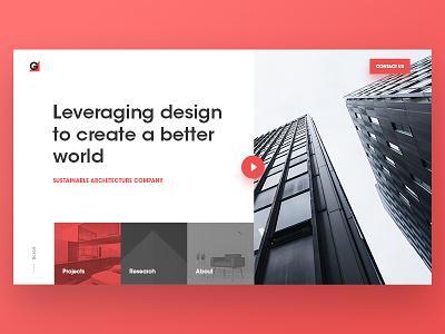 Architecture Hero video typography branding corporate web minimalist clean geometric ux ui landing hero design architecture