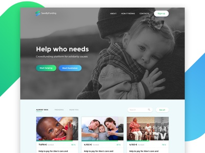 Save By Funding - Crowdfunding platform clean crowdfunding landing hero site platform website web design branding ux ui design