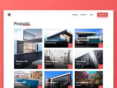 Architecture Website - Projects houses building layout architechture webdesig website web landing clean branding ux ui design