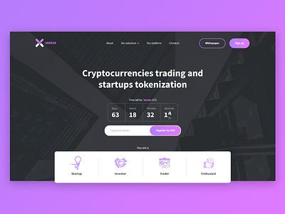 Vortex - Cryptocurrency Platform logo startup ico platform exchange cryptocurrency vortex website landing web clean app branding ux ui design