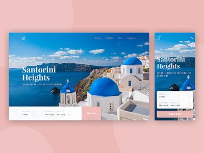 Santorini Heights - Landing suites clean inspiration desktop mobile airbnb hotel luxury santorini greece travel booking ux ui design website web landing