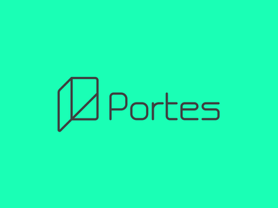 Portes Logo Vertical hand made font custom made font typography app design cryptography authentication anonymity branding illustrator vector portes logotype logo design logo